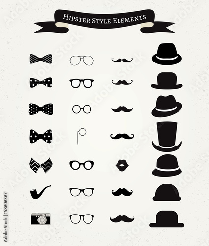 Obraz na płótnie Zestaw ikon Hipstera