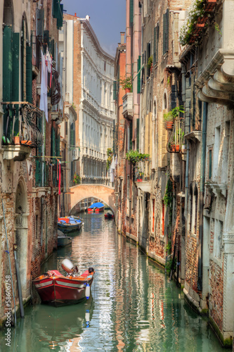 Foto op Canvas Venice Venice, Italy. A romantic narrow canal and bridge