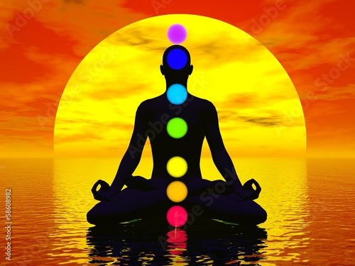 Photo  Chakras at sunset - 3D render