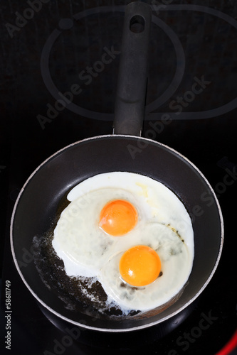 Cadres-photo bureau Ouf two fried eggs in hot frying pan