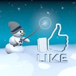 snowman with magic wand and like sign