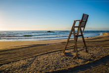 Lifeguard Chair On Empty Beach