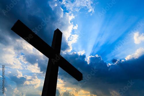 Fotografie, Obraz  Cross silhouette and the holy blue sky