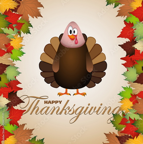Fotografering  Happy Thanksgiving cartoon turkey - card vector illustration