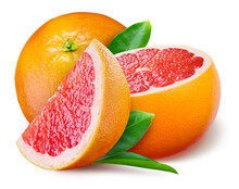 Grapefruit With A Half And Leaves On White Background