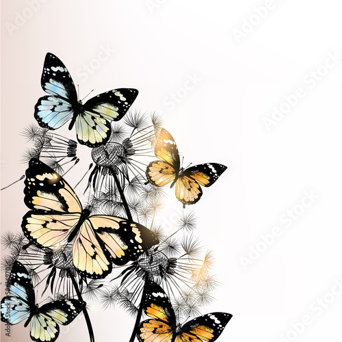 Photo sur Toile Papillons dans Grunge Floral background with butterflies and dandelions
