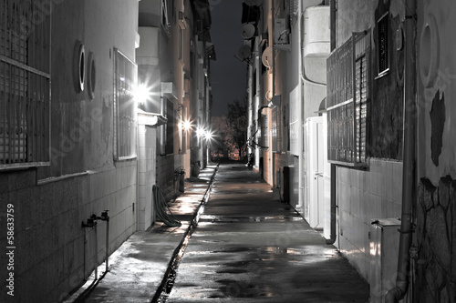 Canvas Prints Narrow alley Dark back alley on a wet night