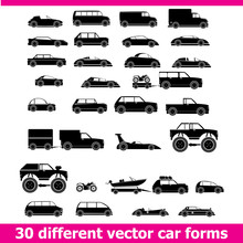 Cars Icons Set . 30 Different Vector Car Forms