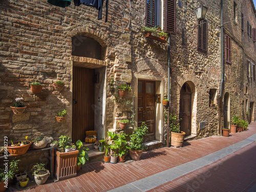 Canvas Prints Narrow alley medieval village street in Tuscany