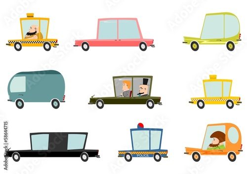 Staande foto Cartoon cars Colorful cartoon car set on a white background.