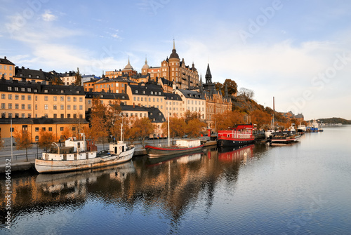 Photo  Stockholm embankment with boats
