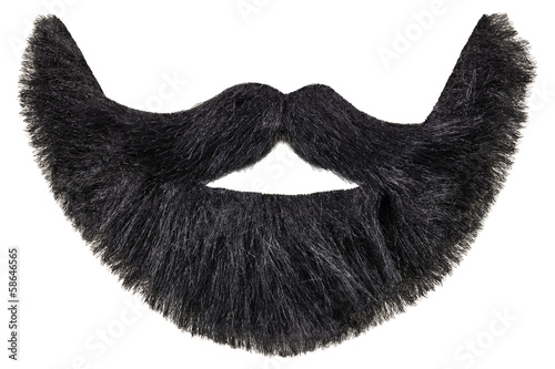 Fotografie, Obraz  Black beard with mustache isolated on white