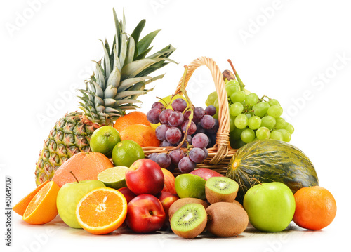 Keuken foto achterwand Vruchten Variety of fruits in wicker basket isolated on white