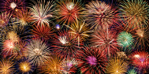 Fototapeta Festive and colorful fireworks display