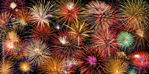 Festive and colorful fireworks display - 58649308
