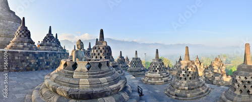 Recess Fitting Indonesia Panorama Borobudur Temple, Yogyakarta, Java, Indonesia.