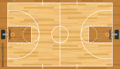 Fotografie, Tablou  Realistic Vector Basketball Court