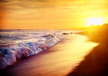 Beautiful Sea Sunset Beach. Mediterranean Sea. Spai