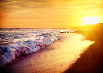 Beautiful Sea Sunset Beach. Mediterranean Sea. Spai