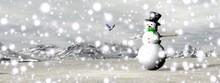 Snowman Under The Snow - 3D Render