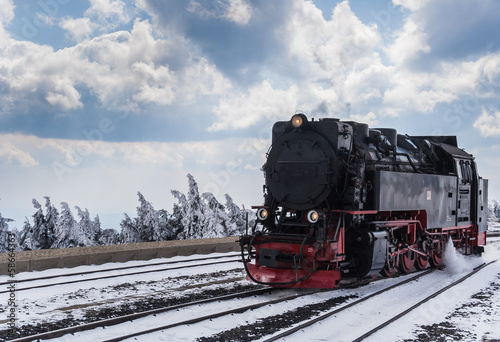 Fototapeta Steam train in the snow obraz na płótnie