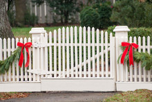 White Picket Fence, Garland, And Red Bows IV