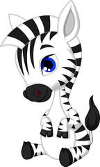 Fototapeta na wymiar Cute baby zebra cartoon