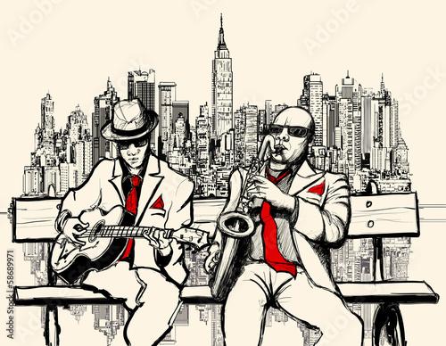 Aluminium Prints Art Studio two jazz men playing in New York