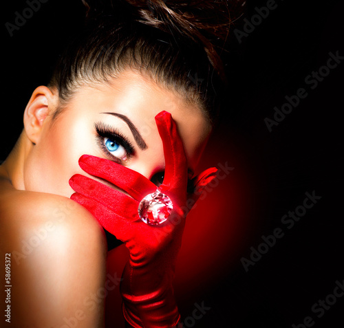 Fotografie, Obraz  Vintage Style Mysterious Woman Wearing Red Glamour Gloves