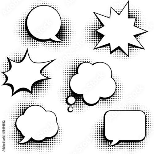 Photo  Set of speech bubbles in pop art style.