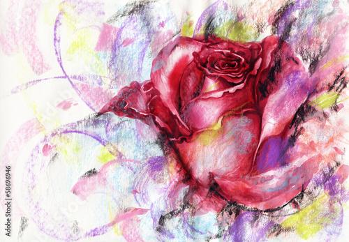 Róża. Ilustracja moda ręcznie