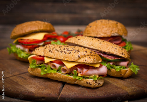 Wall Murals Snack Sandwiches on the wooden table