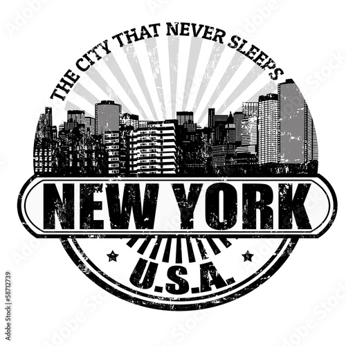 New York ( The city that never sleeps) stamp Canvas Print