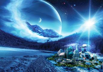 Fototapeta baza na obcej planecie