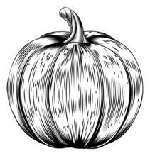 Vintage Retro Woodcut Pumpkin