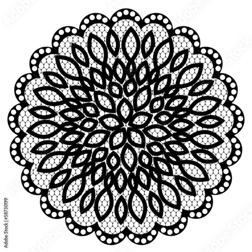 Fotografia, Obraz  Lace doily with flowers
