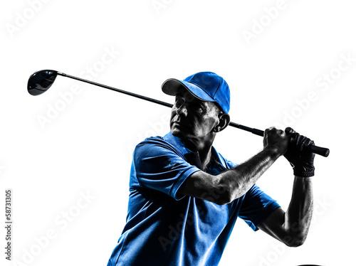 Poster Golf man golfer golfing portrait silhouette