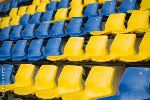 Papiers peints Stade de football Stadium seat close up, yellow and blue