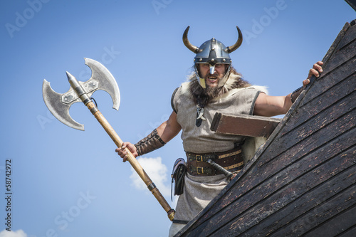 Photo  Strong Viking on his ship