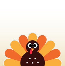 Thanksgiving Colorful Turkey Greeting With Copyspace