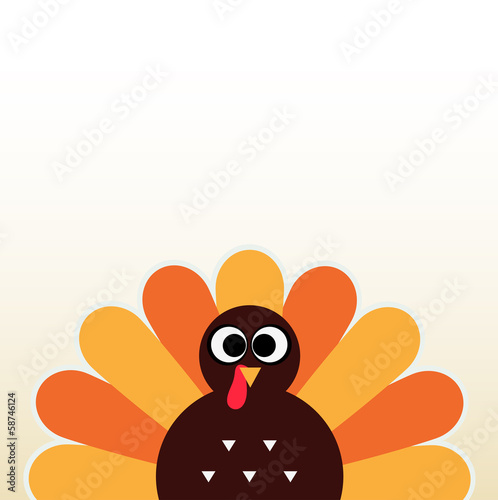 Fotografie, Obraz  Thanksgiving colorful Turkey greeting with copyspace