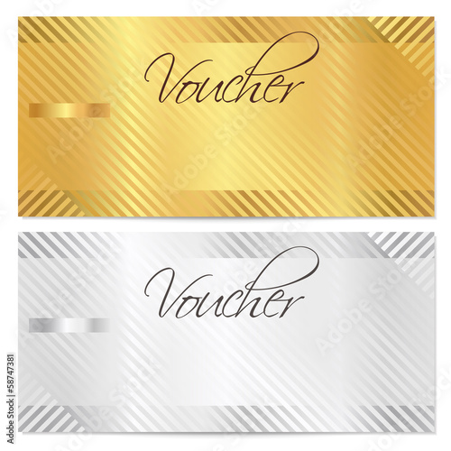 Photo  Voucher, Gift certificate, Coupon  template. Gold stripe pattern