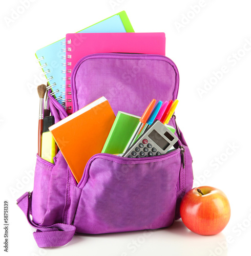 Obraz Purple backpack with school supplies isolated on white - fototapety do salonu