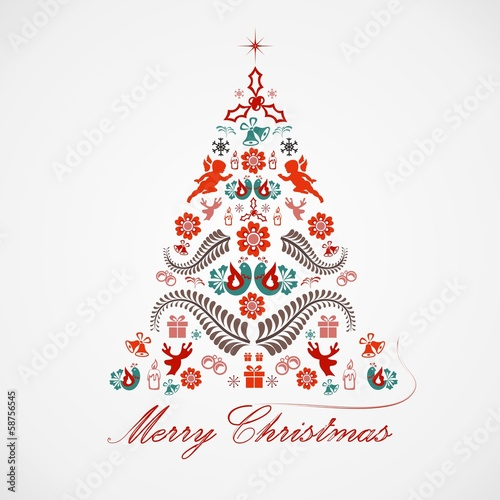 Fotografie, Obraz  Christmas tree - vector illustration