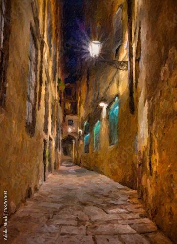 stara-aleja-we-florencji-poznym-wieczorem-akwarela