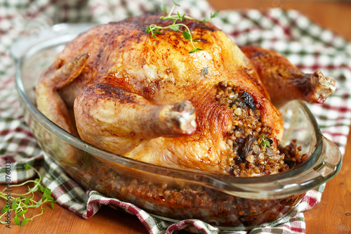 Roasted chicken stuffed with buckwheat