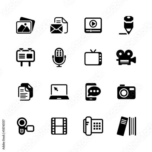 Fototapety, obrazy: Multimedia Icons basic black series
