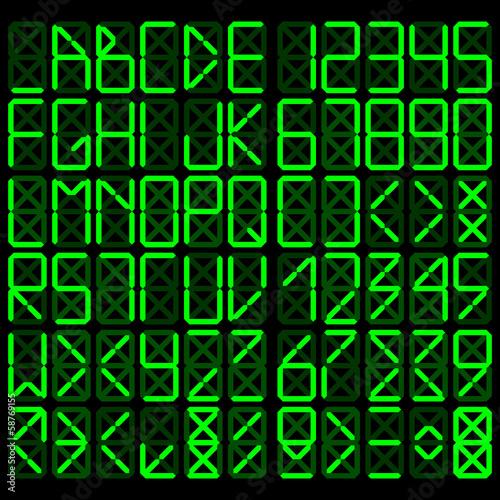 Obrazy z napisami alfabet-cyfrowy-zielony-na-czarnym-tle