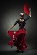 Young Woman Dancing Flamenco W...