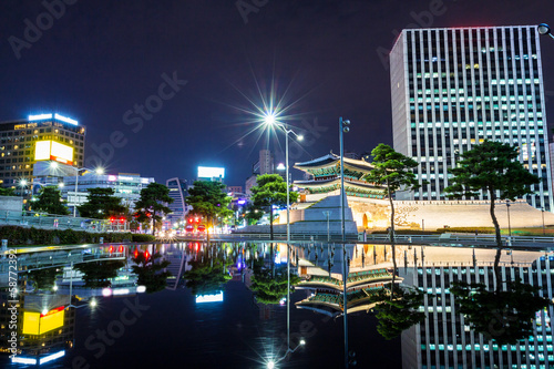 Seoul city in South Korea at night Poster